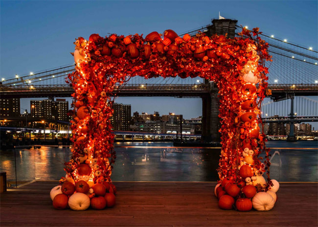 Karen Klopp & Hilary Dick article for New York Social Diary What to wear Halloween 2020.  Pumpkin Arch