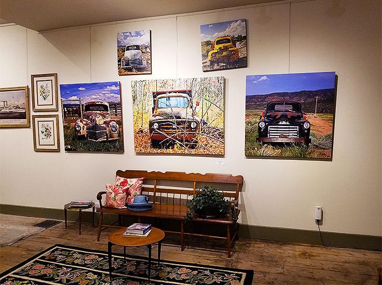 Paintings of Vintage Cars Upstairs